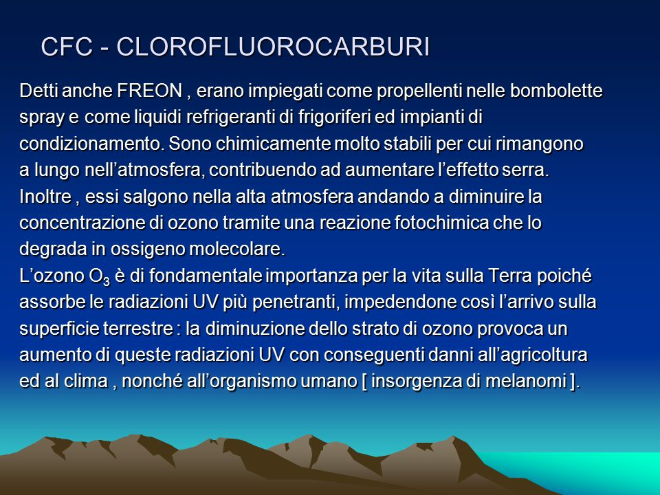 CFC - CLOROFLUOROCARBURI