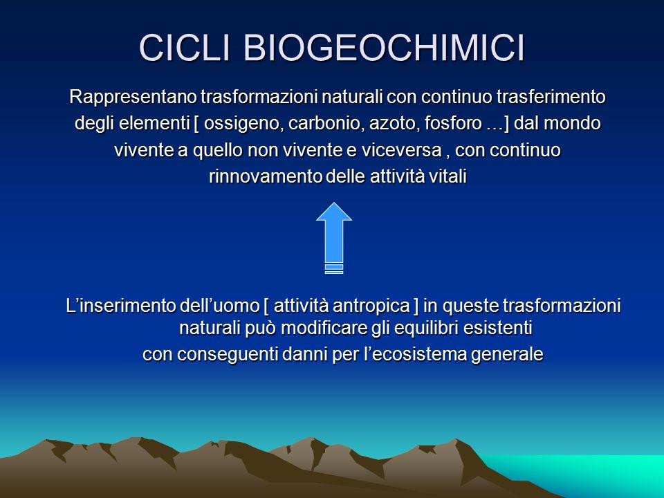 CICLI BIOGEOCHIMICI Rappresentano trasformazioni naturali con continuo trasferimento.