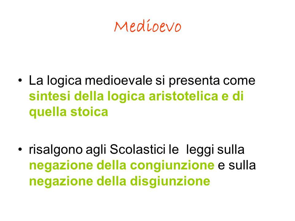 Medioevo La logica medioevale si presenta come sintesi della logica aristotelica e di quella stoica.