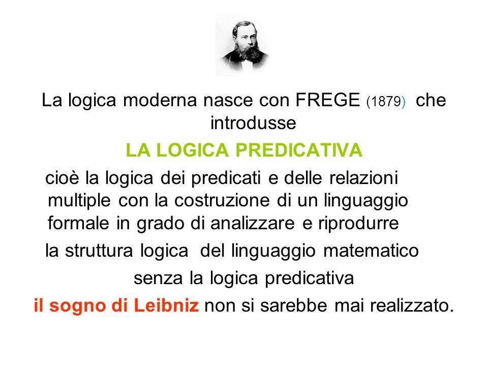 La logica moderna nasce con FREGE (1879) che introdusse
