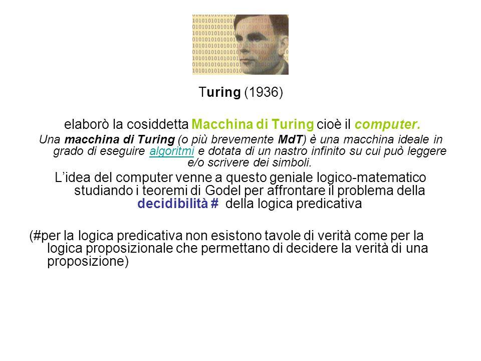 elaborò la cosiddetta Macchina di Turing cioè il computer.