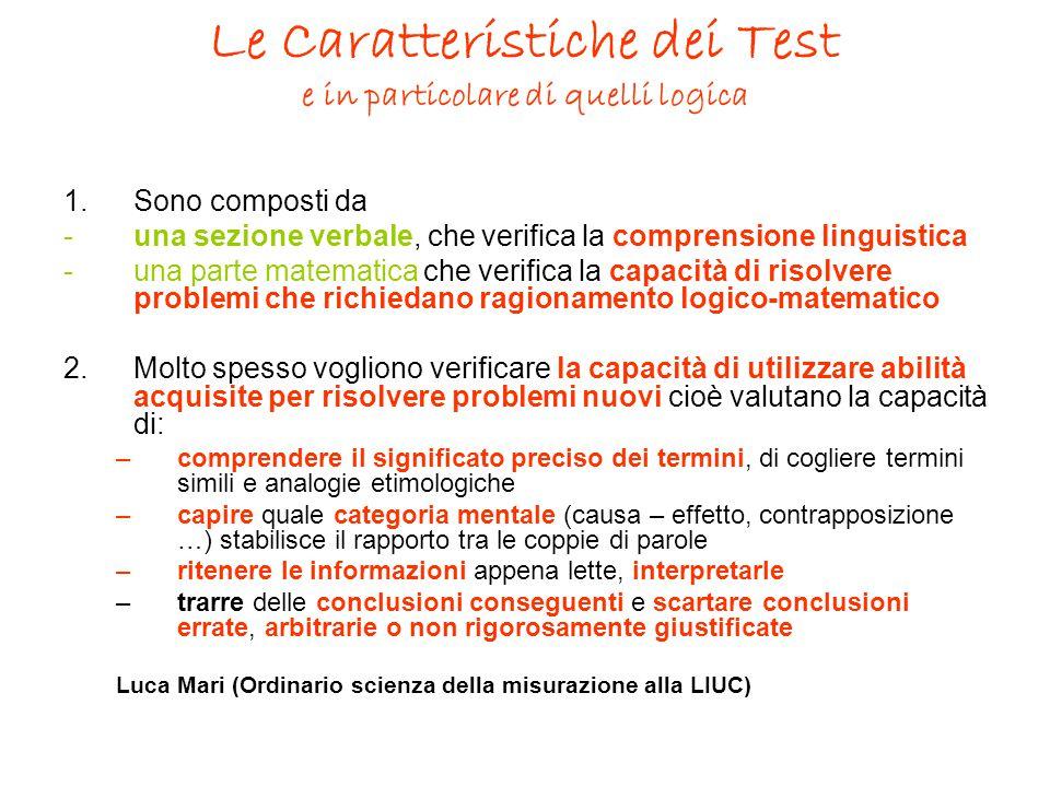 Le Caratteristiche dei Test e in particolare di quelli logica