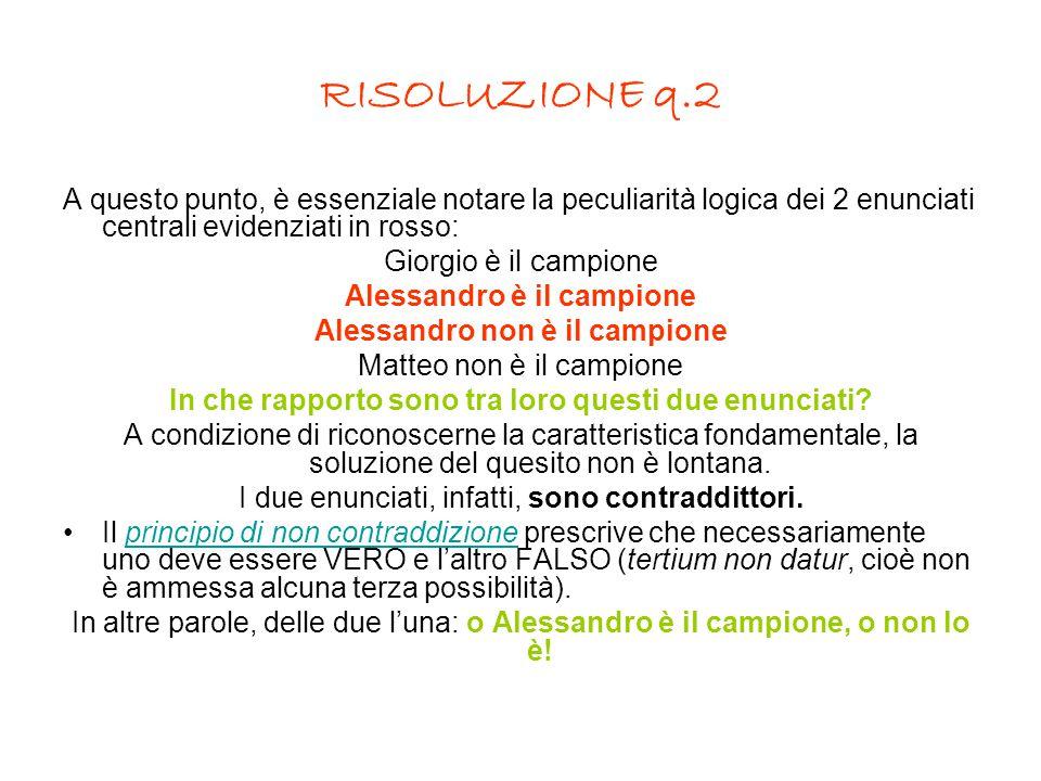 RISOLUZIONE q.2 A questo punto, è essenziale notare la peculiarità logica dei 2 enunciati centrali evidenziati in rosso: