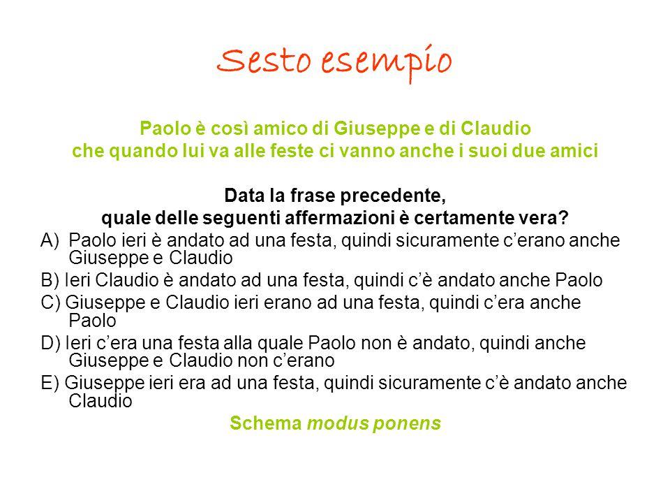 Sesto esempio Paolo è così amico di Giuseppe e di Claudio