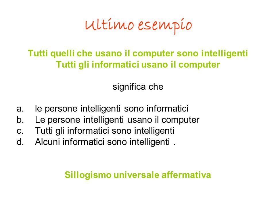 Ultimo esempio Tutti quelli che usano il computer sono intelligenti