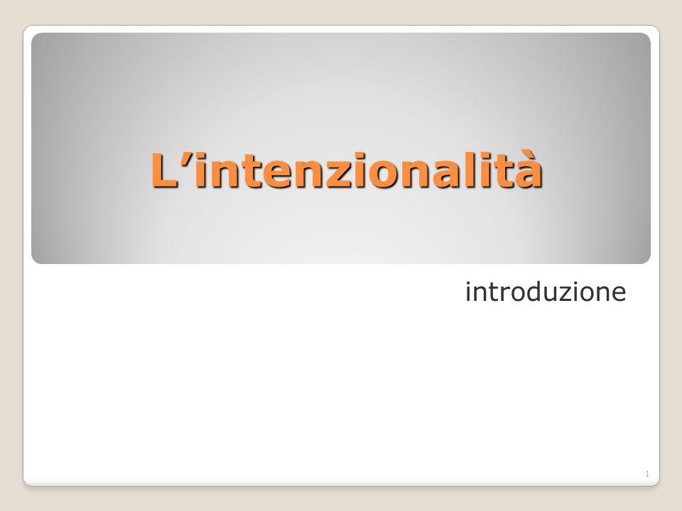 L'intenzionalità introduzione