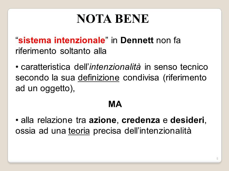 NOTA BENE sistema intenzionale in Dennett non fa riferimento soltanto alla.