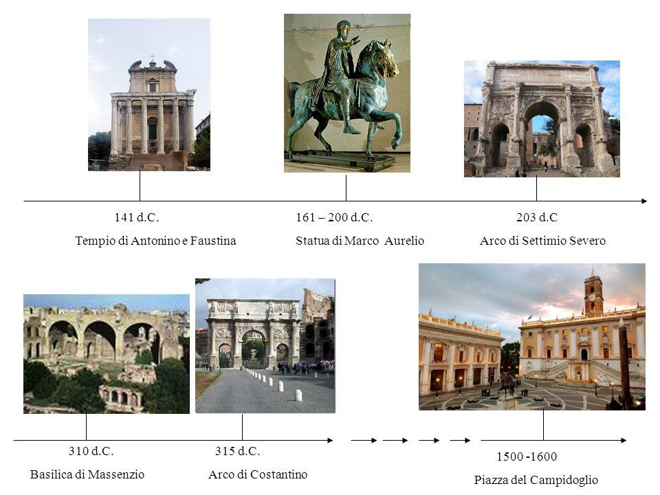 141 d.C. Tempio di Antonino e Faustina. 161 – 200 d.C. Statua di Marco Aurelio. 203 d.C. Arco di Settimio Severo.