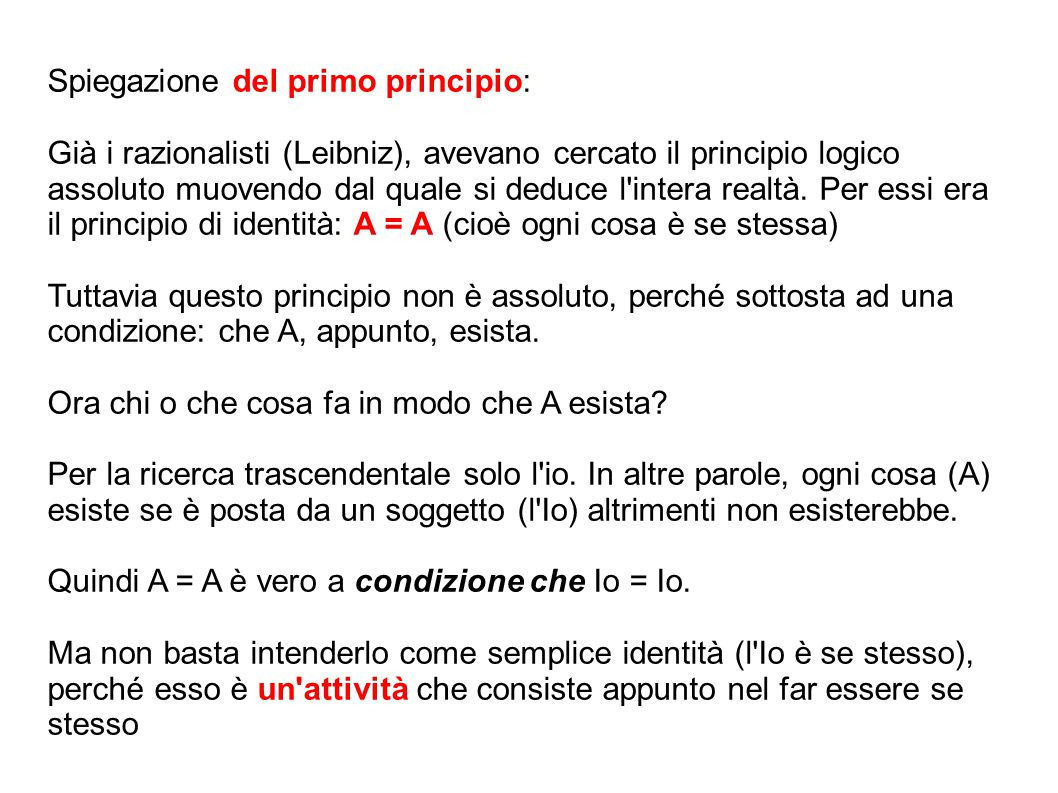 Spiegazione del primo principio: