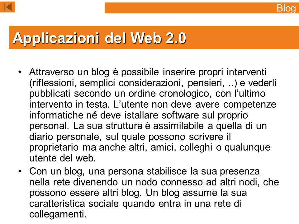 Applicazioni del Web 2.0 Blog
