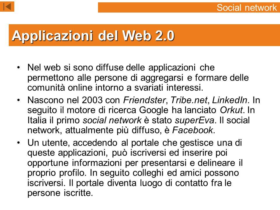 Applicazioni del Web 2.0 Social network
