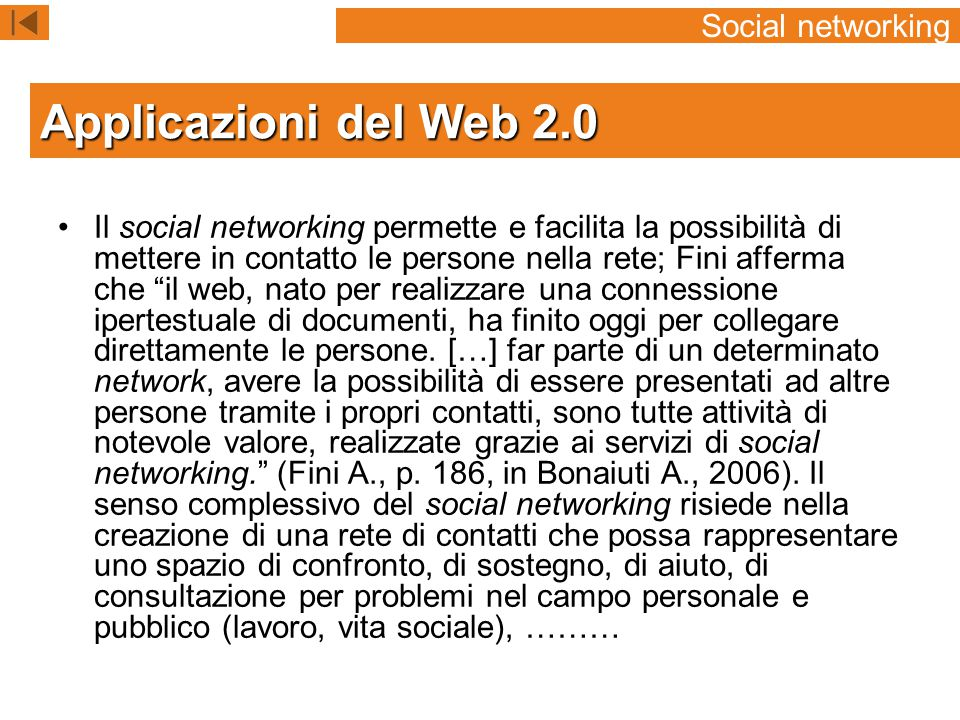 Applicazioni del Web 2.0 Social networking