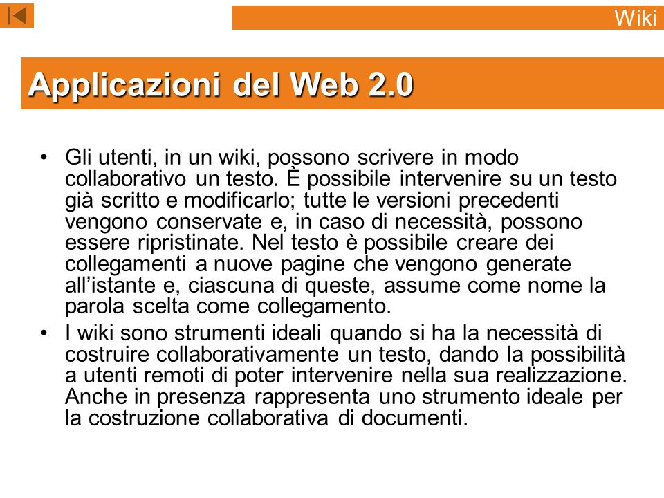 Applicazioni del Web 2.0 Wiki