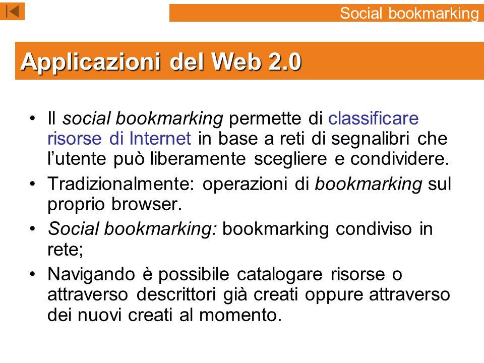Social bookmarking Applicazioni del Web 2.0.