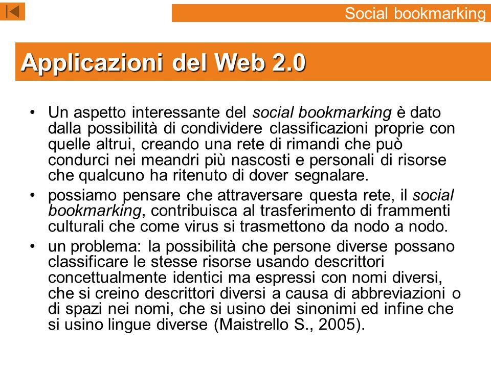 Applicazioni del Web 2.0 Social bookmarking