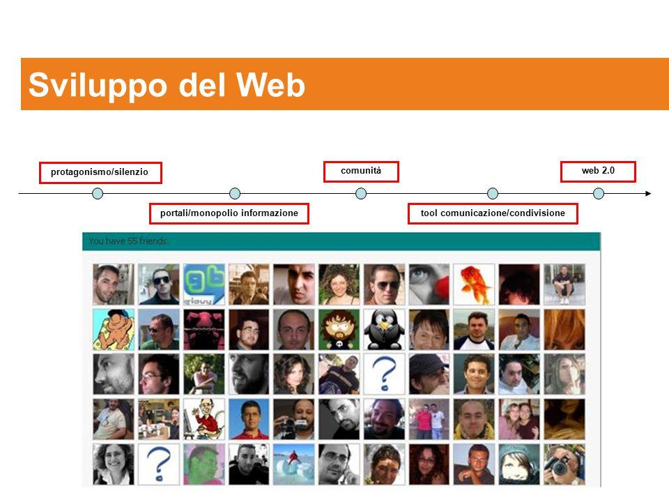 Sviluppo del Web protagonismo/silenzio comunità web 2.0