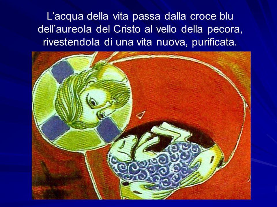 L'acqua della vita passa dalla croce blu dell'aureola del Cristo al vello della pecora, rivestendola di una vita nuova, purificata.