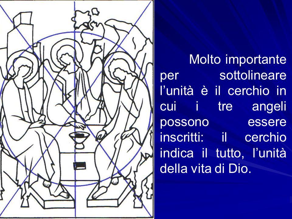 Molto importante per sottolineare l'unità è il cerchio in cui i tre angeli possono essere inscritti: il cerchio indica il tutto, l'unità della vita di Dio.