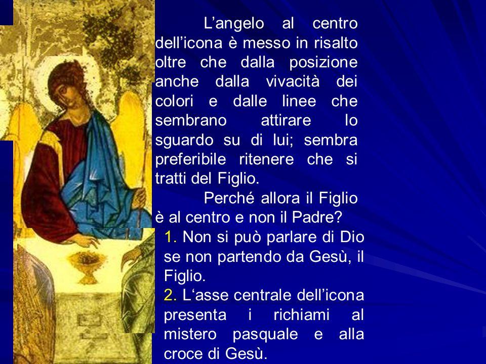 L'angelo al centro dell'icona è messo in risalto oltre che dalla posizione anche dalla vivacità dei colori e dalle linee che sembrano attirare lo sguardo su di lui; sembra preferibile ritenere che si tratti del Figlio.