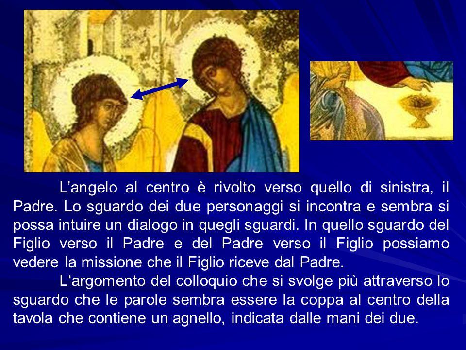 L'angelo al centro è rivolto verso quello di sinistra, il Padre