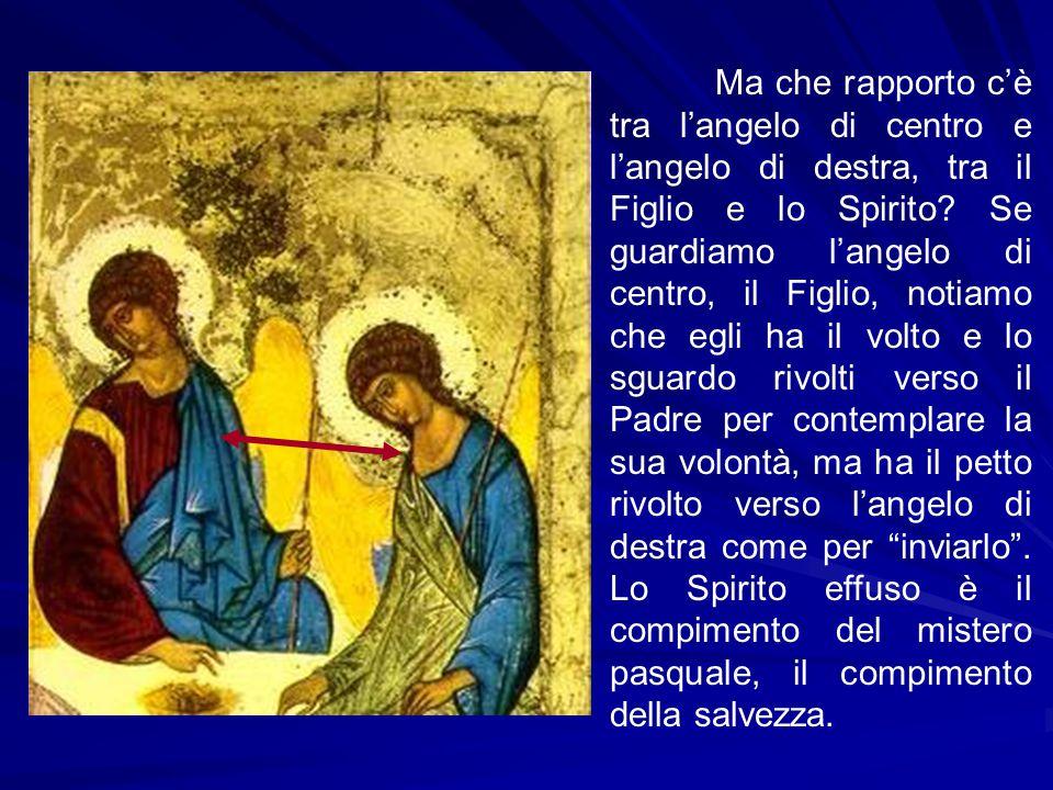 Ma che rapporto c'è tra l'angelo di centro e l'angelo di destra, tra il Figlio e lo Spirito.
