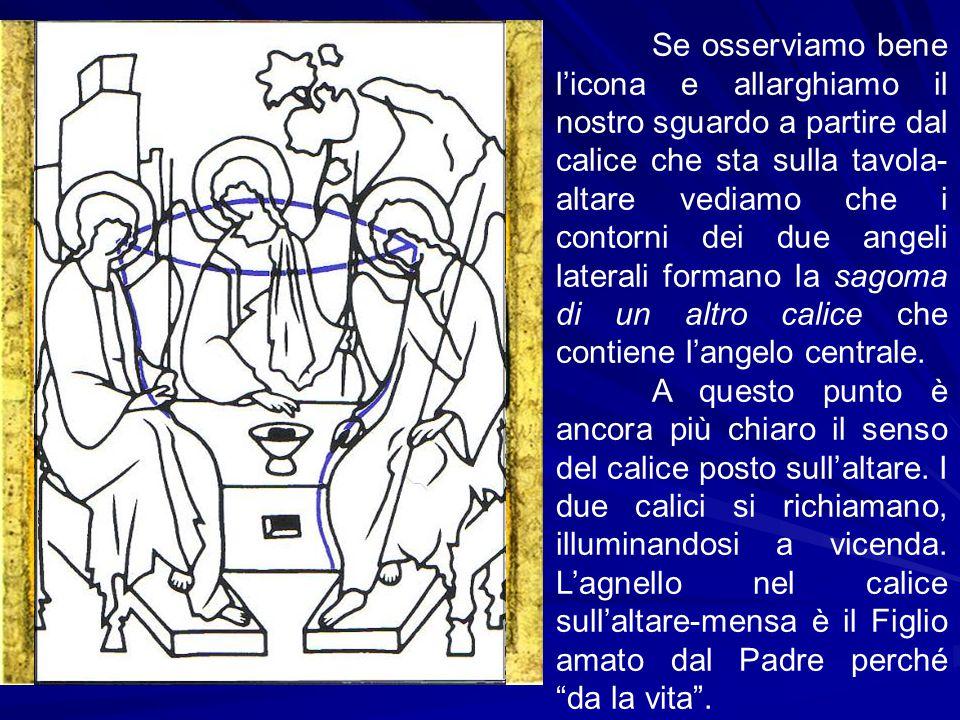 Se osserviamo bene l'icona e allarghiamo il nostro sguardo a partire dal calice che sta sulla tavola-altare vediamo che i contorni dei due angeli laterali formano la sagoma di un altro calice che contiene l'angelo centrale.