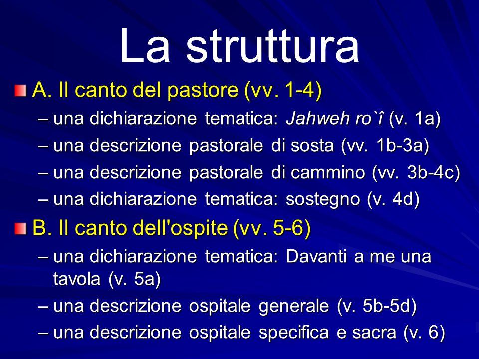 La struttura A. Il canto del pastore (vv. 1-4)