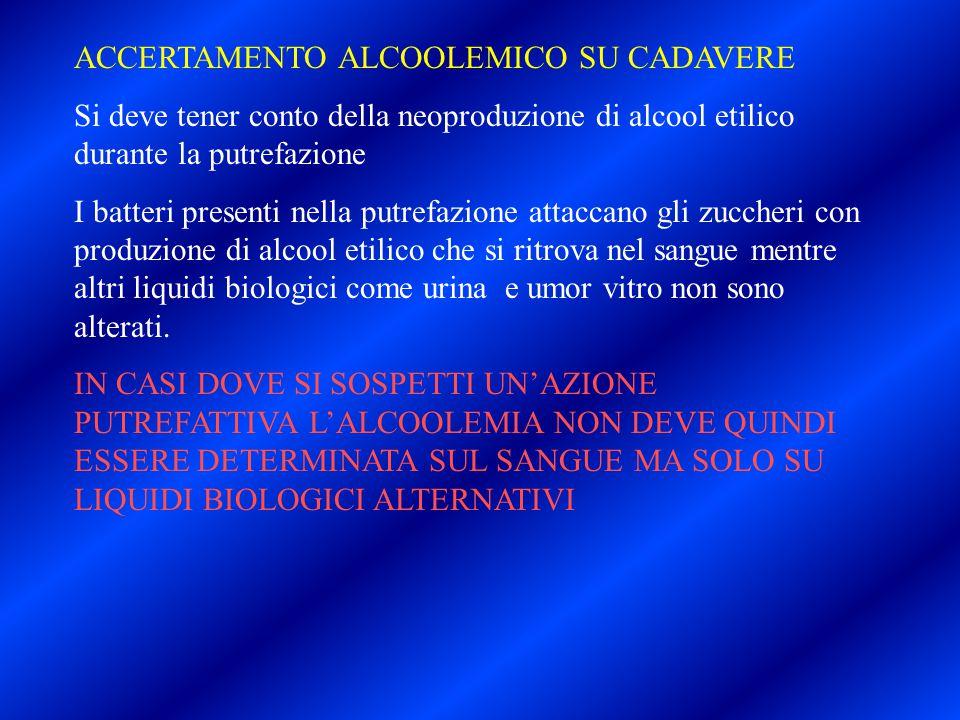 ACCERTAMENTO ALCOOLEMICO SU CADAVERE