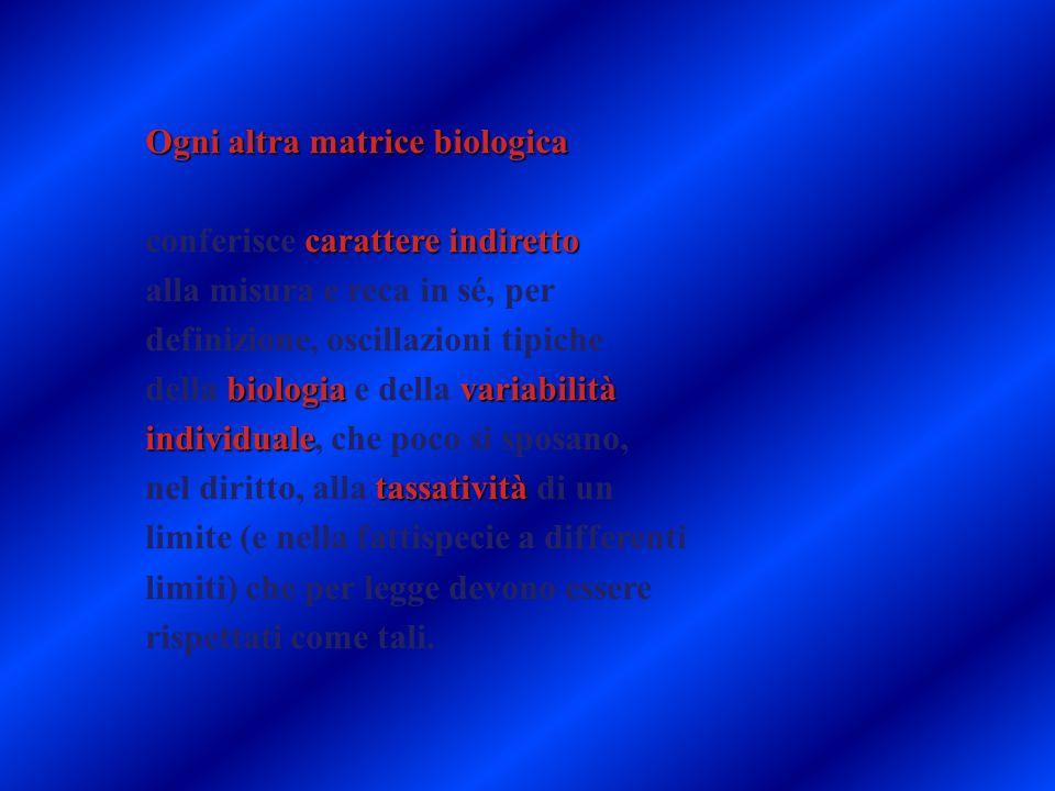 Ogni altra matrice biologica conferisce carattere indiretto
