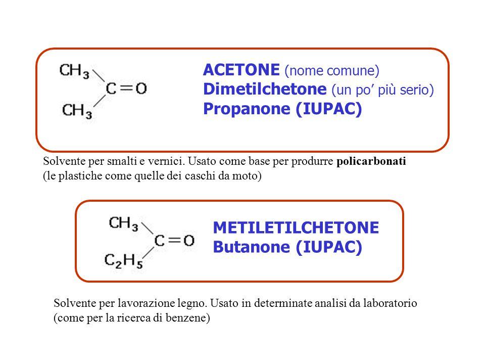 Dimetilchetone (un po' più serio) Propanone (IUPAC)