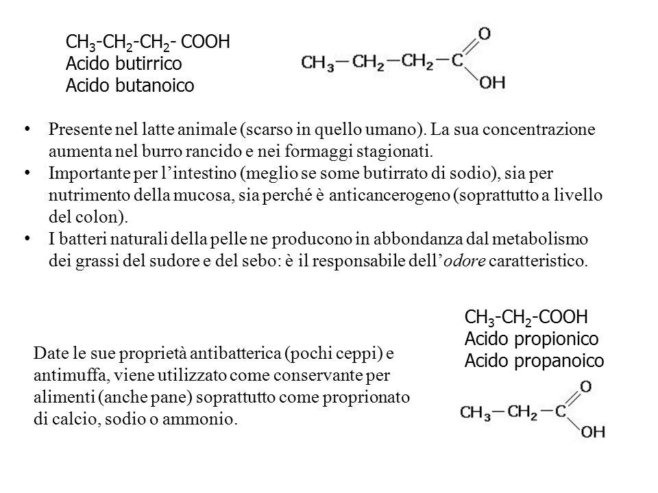 CH3-CH2-CH2- COOH Acido butirrico. Acido butanoico.