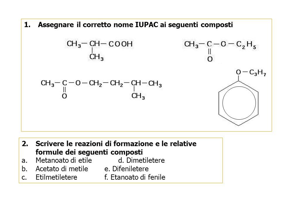 a. b. d. c. Assegnare il corretto nome IUPAC ai seguenti composti