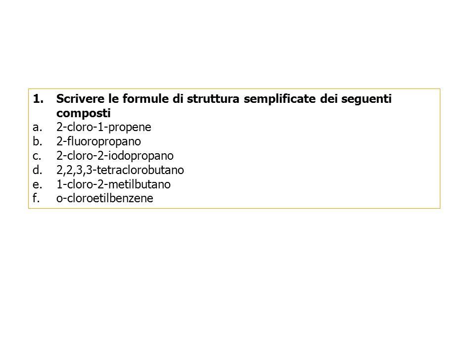 Scrivere le formule di struttura semplificate dei seguenti composti