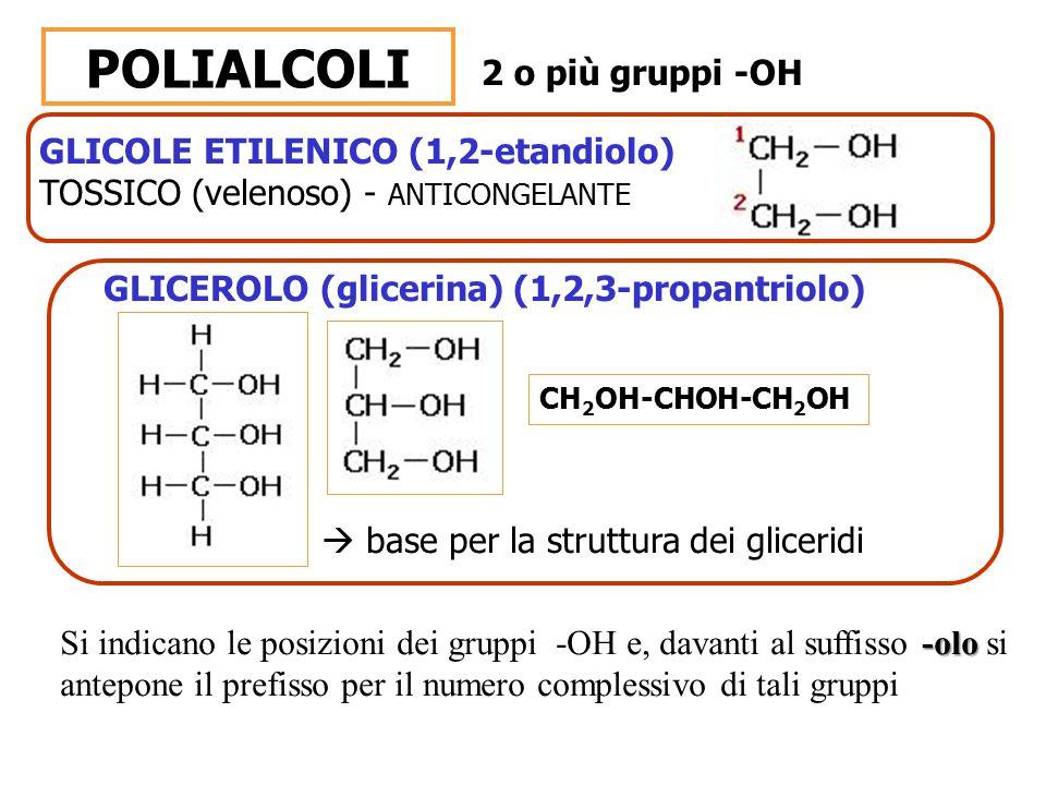 POLIALCOLI 2 o più gruppi -OH GLICOLE ETILENICO (1,2-etandiolo)