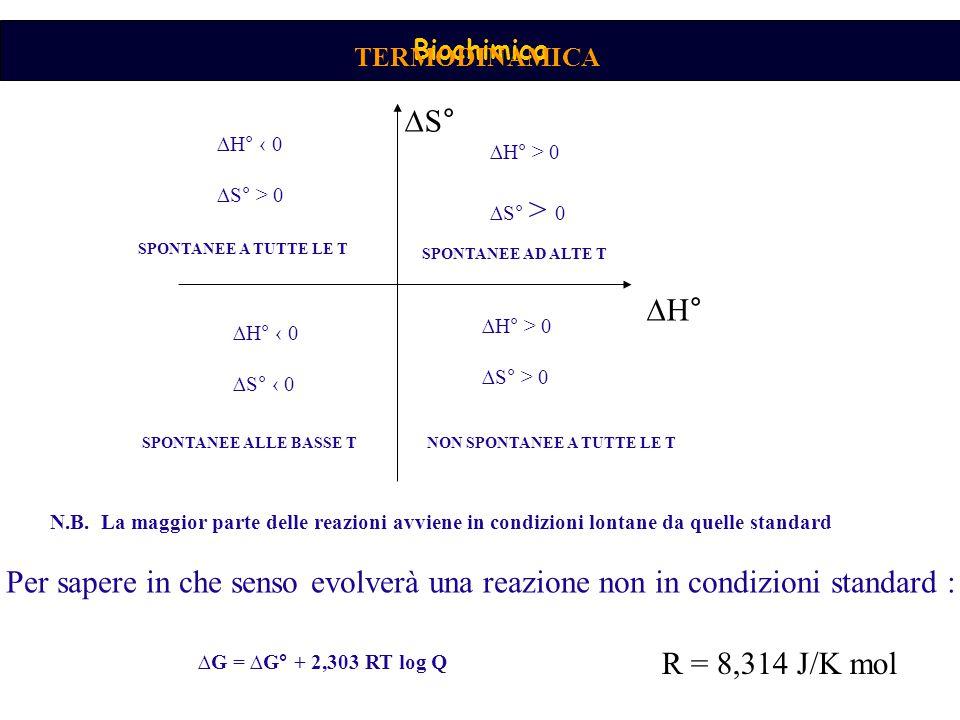 TERMODINAMICA ∆S° ∆H° ‹ 0. ∆S° > 0. ∆H° > 0. ∆S° > 0. SPONTANEE A TUTTE LE T. SPONTANEE AD ALTE T.