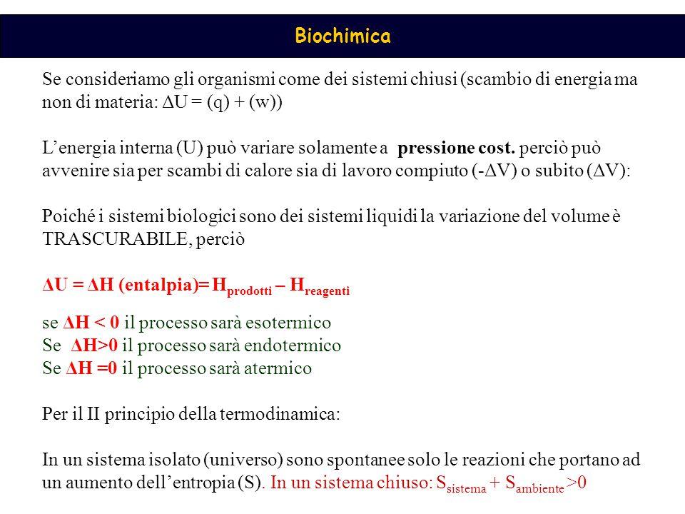 Se consideriamo gli organismi come dei sistemi chiusi (scambio di energia ma non di materia: ΔU = (q) + (w))