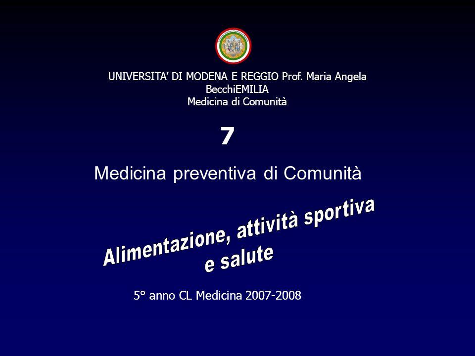 7 Medicina preventiva di Comunità Alimentazione, attività sportiva