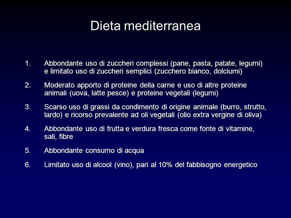 Dieta mediterranea Abbondante uso di zuccheri complessi (pane, pasta, patate, legumi) e limitato uso di zuccheri semplici (zucchero bianco, dolciumi)