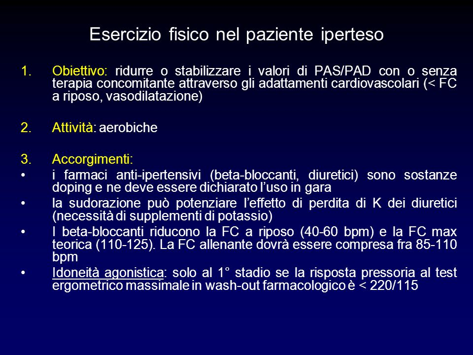 Esercizio fisico nel paziente iperteso