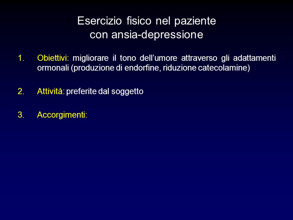 Esercizio fisico nel paziente con ansia-depressione