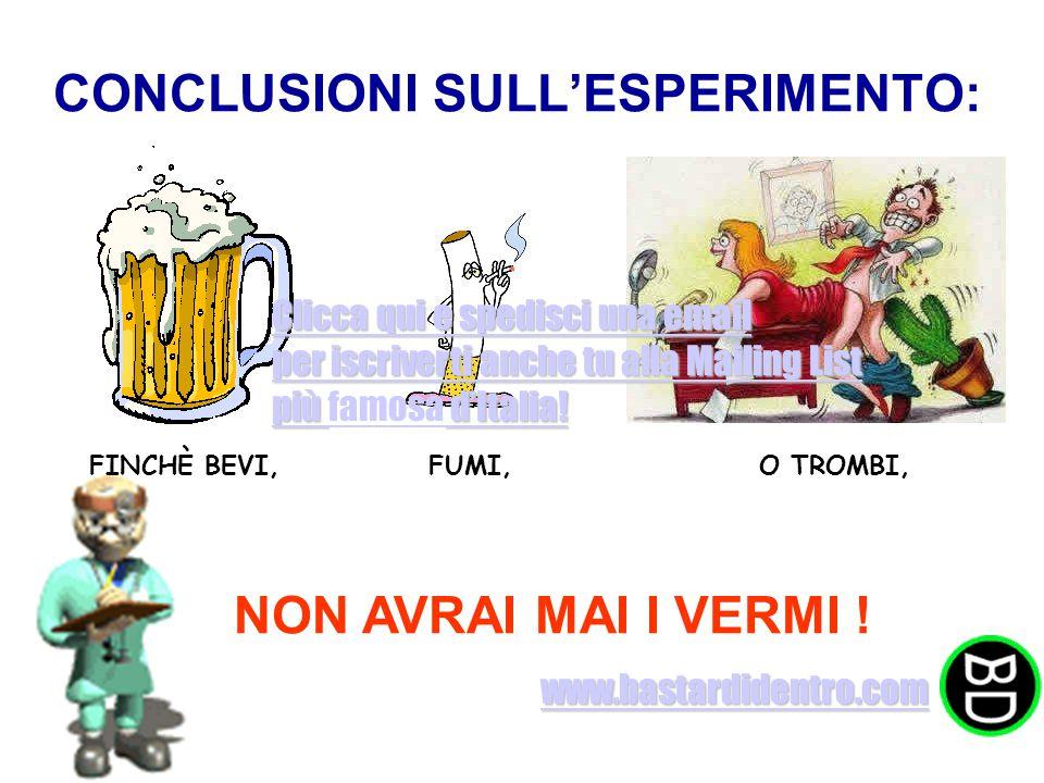 CONCLUSIONI SULL'ESPERIMENTO: