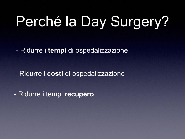 Perché la Day Surgery - Ridurre i tempi di ospedalizzazione
