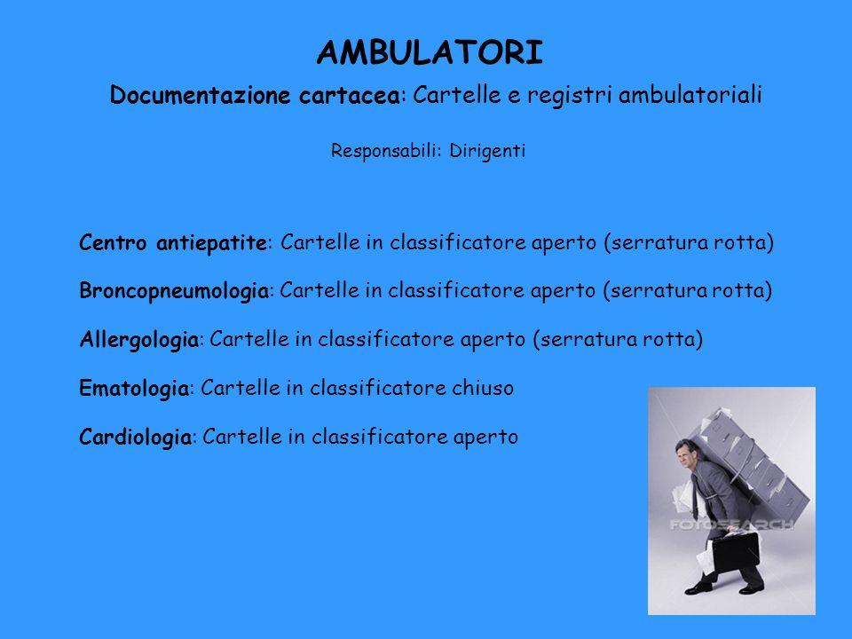 AMBULATORI Documentazione cartacea: Cartelle e registri ambulatoriali Responsabili: Dirigenti