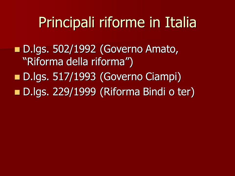 Principali riforme in Italia