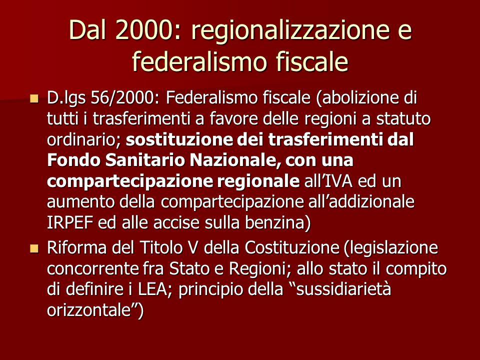 Dal 2000: regionalizzazione e federalismo fiscale