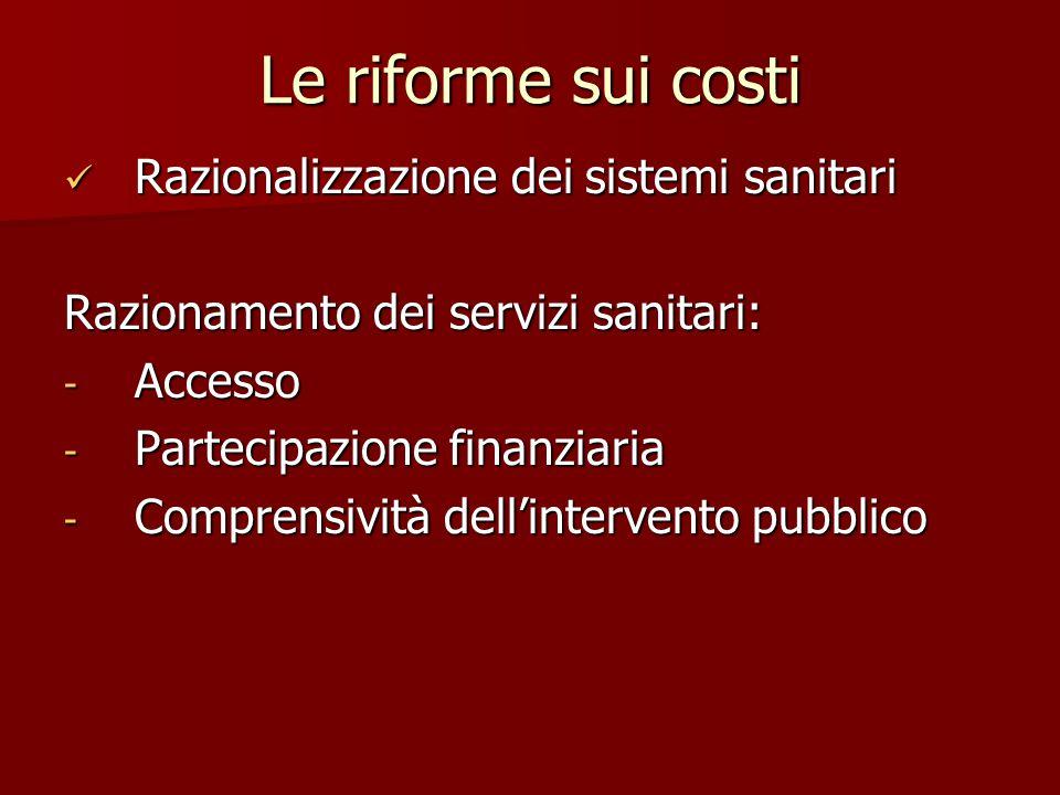 Le riforme sui costi Razionalizzazione dei sistemi sanitari