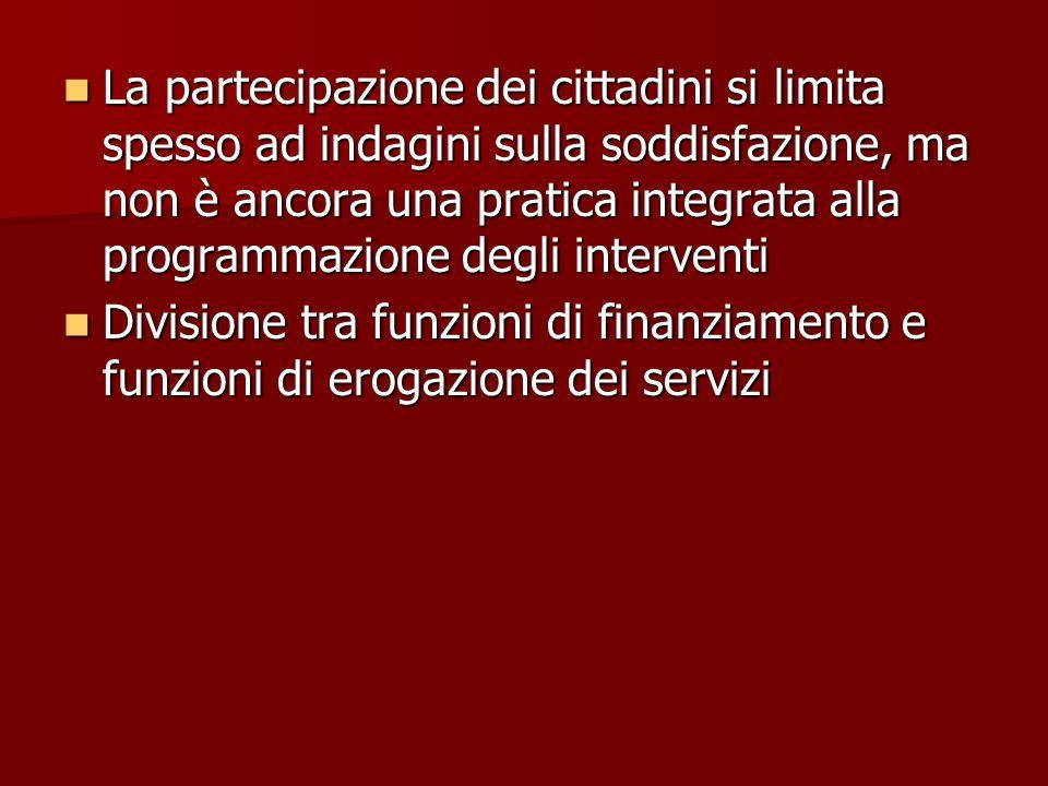 La partecipazione dei cittadini si limita spesso ad indagini sulla soddisfazione, ma non è ancora una pratica integrata alla programmazione degli interventi