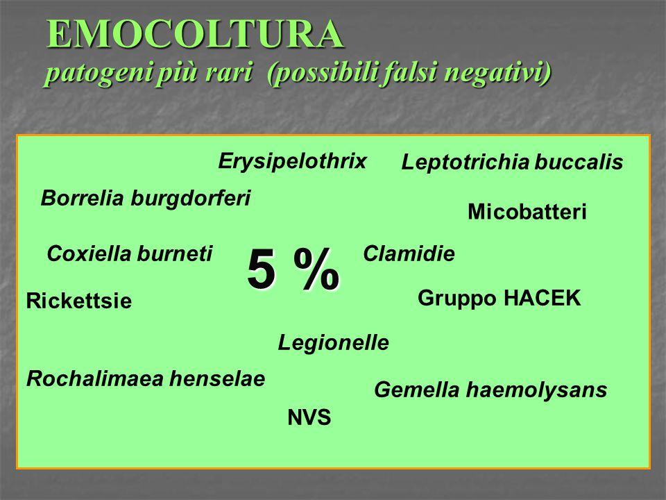 5 % EMOCOLTURA patogeni più rari (possibili falsi negativi)