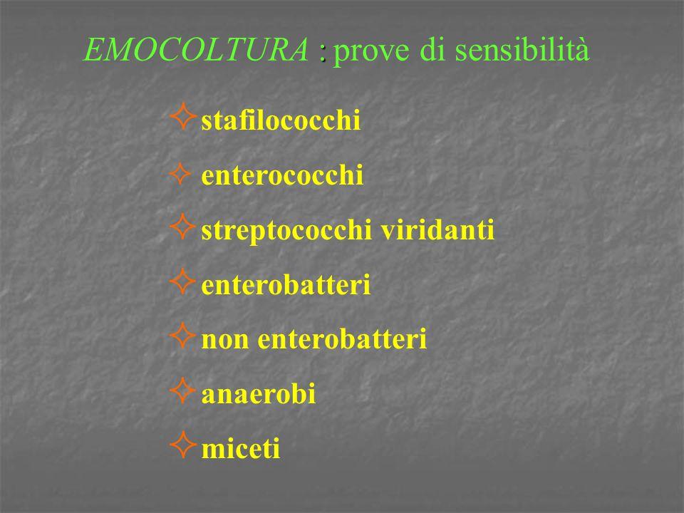 EMOCOLTURA : prove di sensibilità