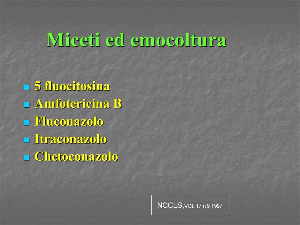 Miceti ed emocoltura 5 fluocitosina Amfotericina B Fluconazolo